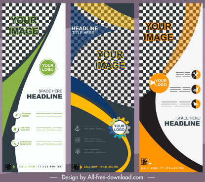 company banners templates colorful modern abstract checkered decor