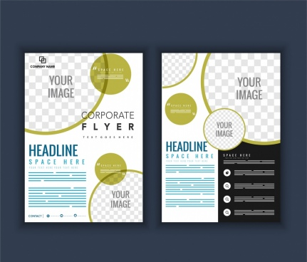 company brochure template circles checkered decoration