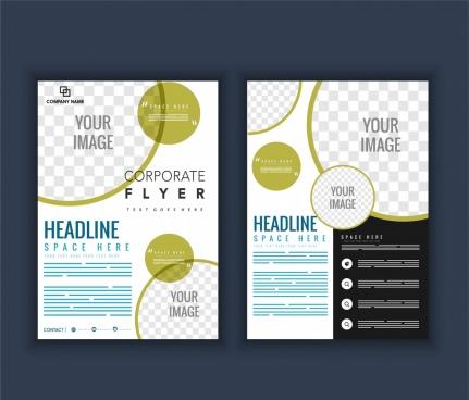 company brochure template circles checkered decoration