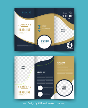 company brochure templates modern elegant checkered trifold