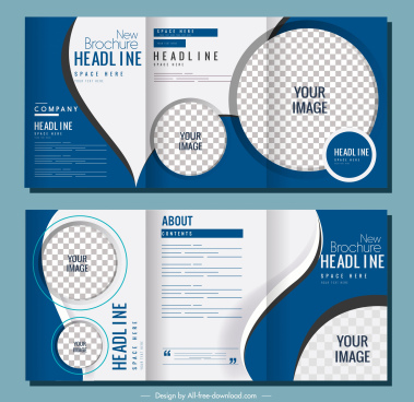 company brochures modern trifold checkered circles curves decor