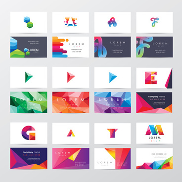 company business cards modern vectors set