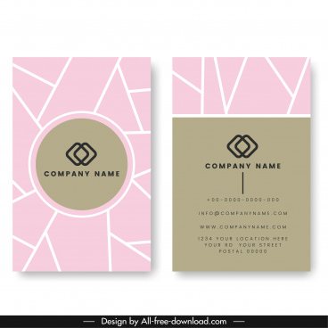 company card template modern flat pink grey decor