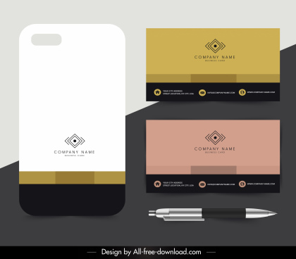 company card templates colored elegant modern plain decor
