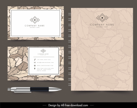 company documents templates elegant retro design leaves decor