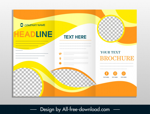 company flyer template trifold shape colorful abstract decor