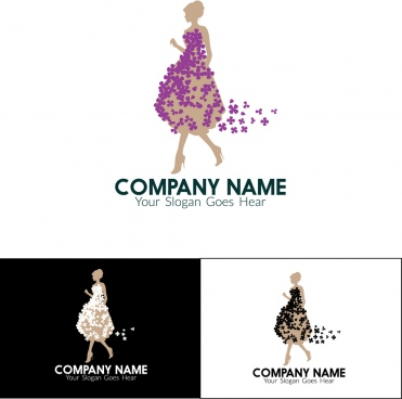 company logo sets woman icons flower dress decoration