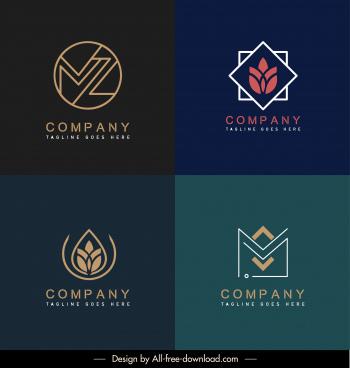 company logo templates flat floral house symbols