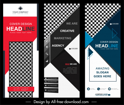 company poster templates modern colorful geometric checkered decor