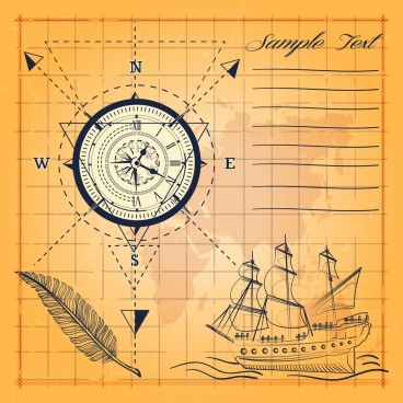 compass background ancient map handdrawn ship sketch