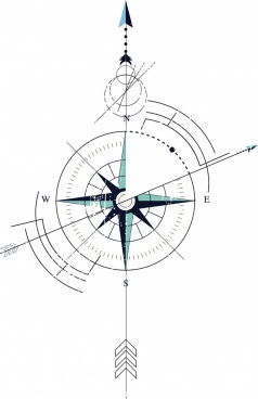 compass background flat circles arrows sketch