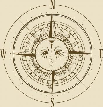 compass background flat retro design