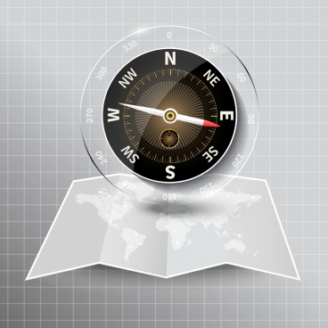 compass background modern shiny glass decor map icon