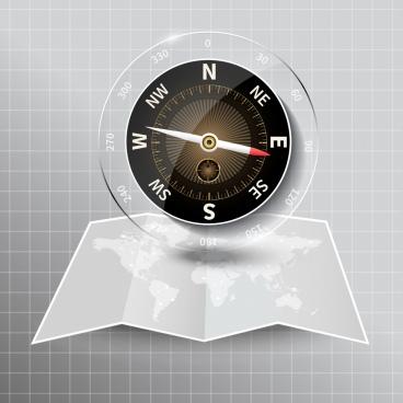 compass background modern shiny glass decor map icon