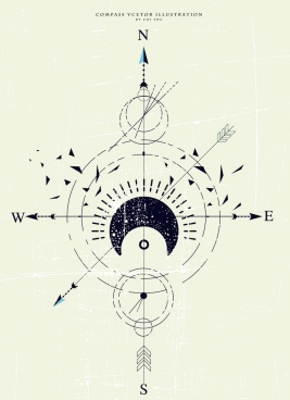 compass background retro flat sketch