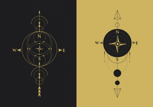 compass background templates flat circles arrows ornament