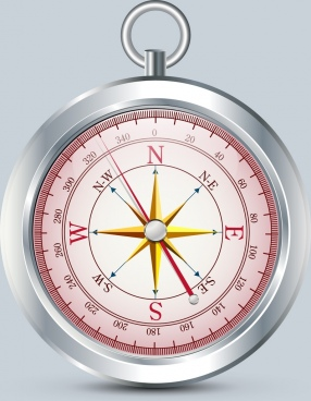 compass icon shiny grey metallic design closeup style