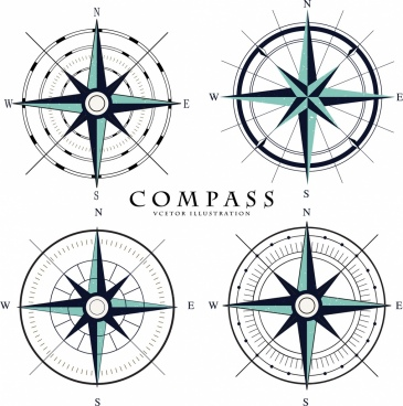 compass icons collection flat circle arrows decoration