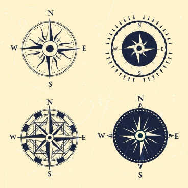 compass icons collection flat classical design