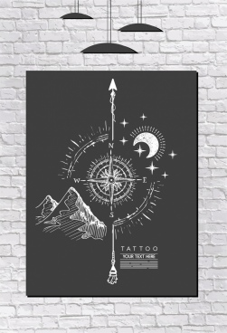 compass painting black white handdrawn retro design