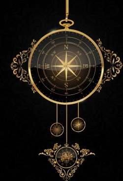 compass template shiny golden hanging decor