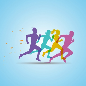 competitive life background rushing action colorful silhouette decor