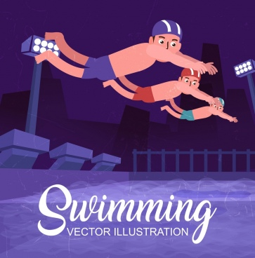 competitive sport background swimmer icons colored cartoon