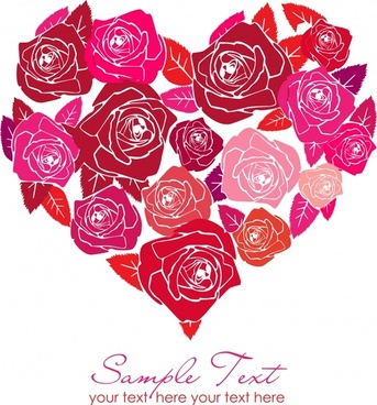 romance background red rose sketch heart layout