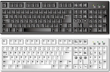 computer keyboard design sets black white realistic design