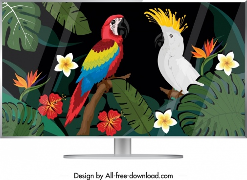 computer screen icon colorful tropical parrots decor