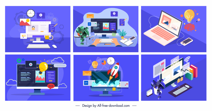 computer works background templates colorful technology objects sketch