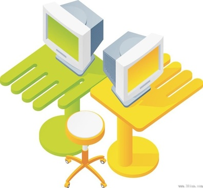 computers computer tables and chairs vector