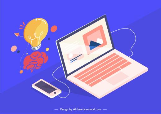computing application design elements lightbulb brain equipment sketch