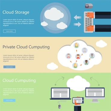 computing cloud concepts design with colored flat design