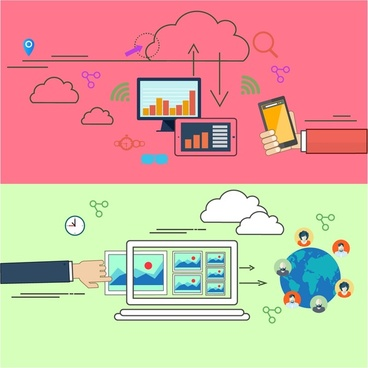 computing cloud concepts illustration with horizontal banners