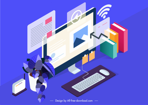 computing work conceptual background modern 3d digital elements