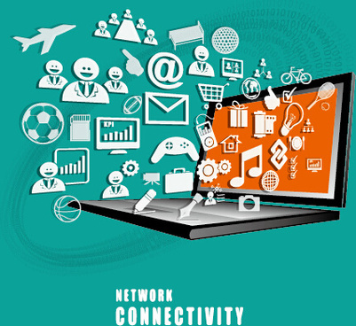 concept business template network with connectivity vector