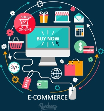 concept of online shopping illustration