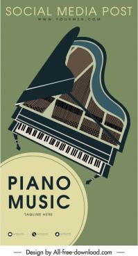 concert advertising banner piano sketch retro design