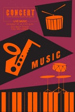 concert banner musical instruments icons retro design