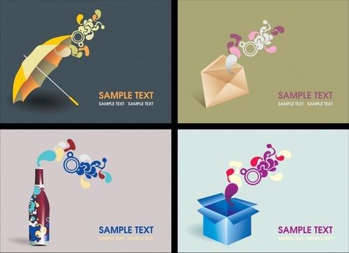 decorative card backgrounds modern dynamic 3d sketch