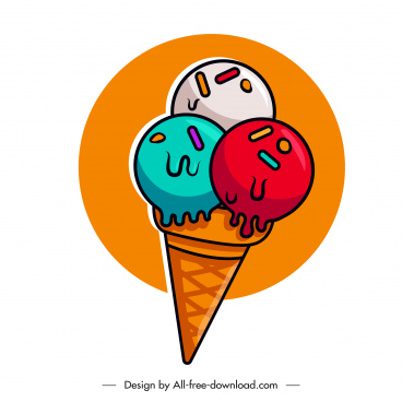 cone ice cream icon colorful flat classic