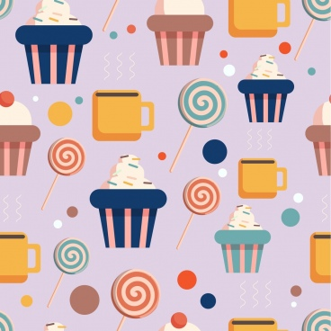 confectionery background cakes candy icons multicolored repeating flat