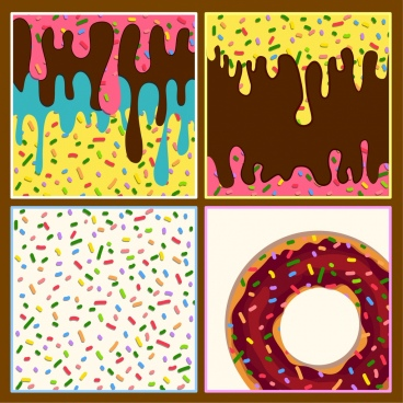 confectionery background colorful melting objects decor square isolation