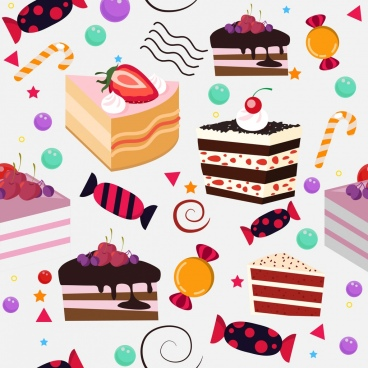 confectionery background cream cakes candies icons decor