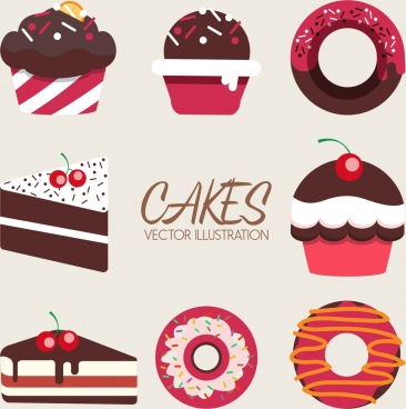 confectionery background cream cakes pie icons decor