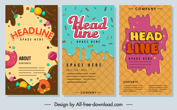 confectionery banners templates colorful melting chocolate cream sketch