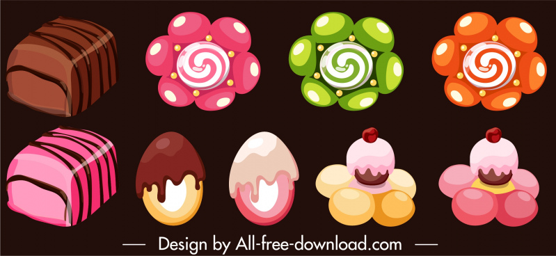 confectionery design elements chocolates candies sketch