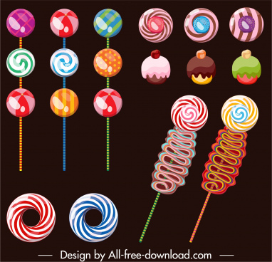confectionery design elements colorful candies shapes sketch