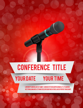 conference microphones business template vector